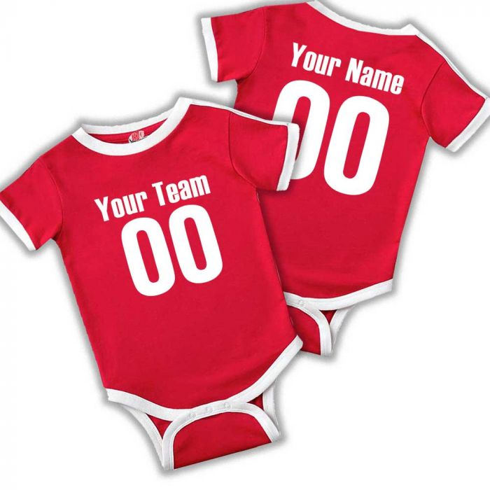 a8b2f0cbf Personalized Soccer Neck Ringer onesies for babies