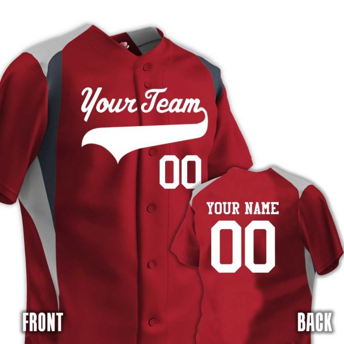 on sale ee604 c08f3 2 Color Shoulder & Side Angle Trim 6 Button Baseball Jersey | Names &  Numbers