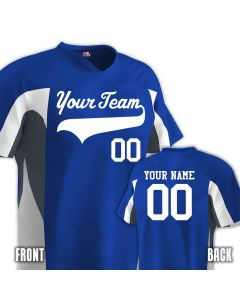 V-neck Baseball jersey with 2 color wave side trim with names and numbers