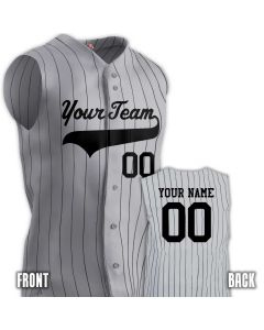 e5f865ffbb Pinstripe 6 Button Sleeveless Baseball Jersey with Baseball Logo Names &  Numbers