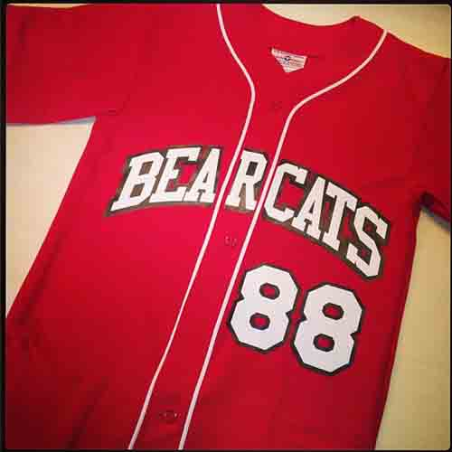 Scarlet red with white piping #custom bearcats #baseball #jersey in pro-weight 14 ounce double knit Polyester