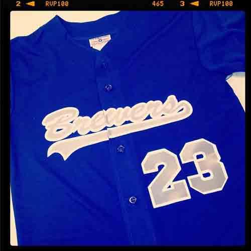 @Brewers full button royal blue custom #softball #jersey