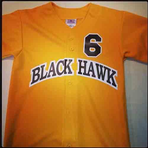 #Custom black hawk gold #baseballjersey With arched team name