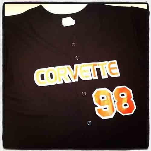 #Custom #Corvette full button black and orange #baseballjersey for #carshows