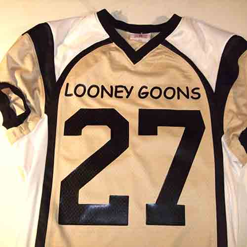 custom fantasy football jersey in vegas gold with black and white trim  looney goons funny humorous ... 62b66b8bb