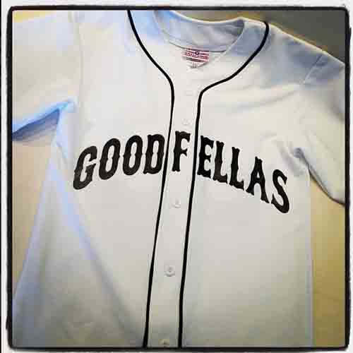 #goodfellas #baseball #jersey with #western #arched #lettering in #white and black