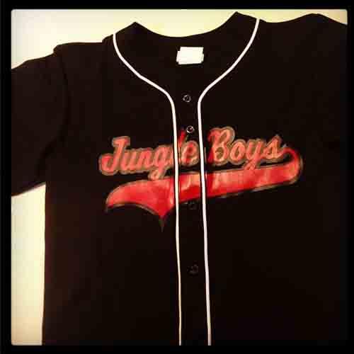 #Custom jungle boys #baseball jersey two color logo black scarlet on black