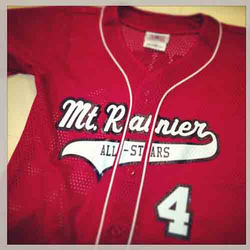 Mount rainier all-stars use custom full button poly mesh #baseball #jersey with sewn-in braid