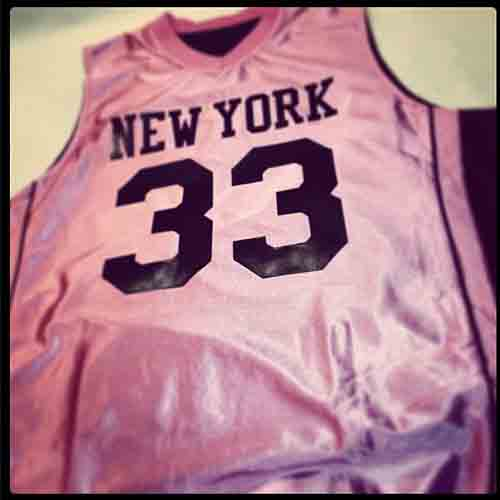 1d4d77ab3a5 ... Pink  NewYork  basketball  jersey with reversible black side and coordinated  pink piping ...