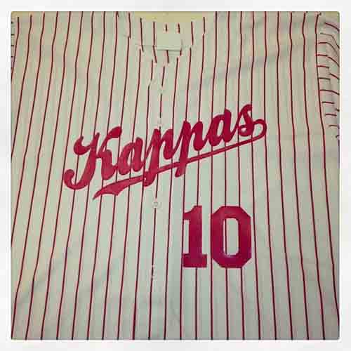 Red and white pinstriped #baseball #jerseys For the Kappas