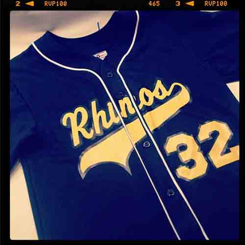 #Custom full #button #navy blue #baseball #jersey with piping for the #rhinos