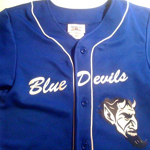 blue devils custom logo on full button baseball jersey