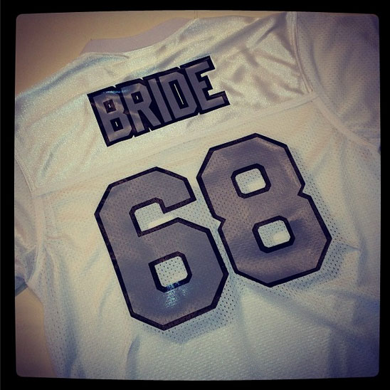 bride football jersey in white black and silver