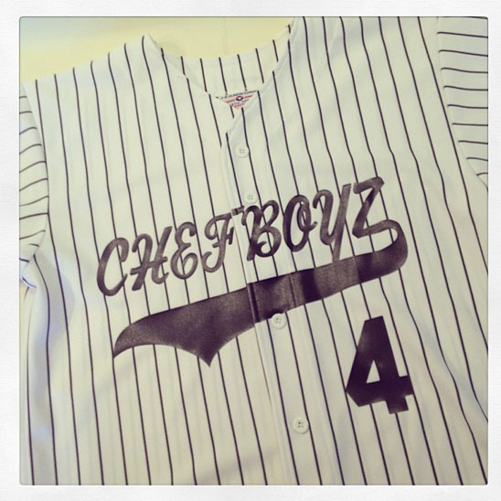 chefboyz with tail on pinistriped jersey