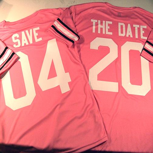 pink and white teamwork gameday shirts