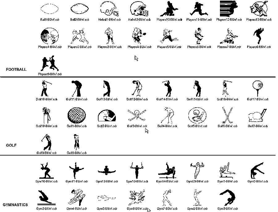 clip art for football to gymnastics