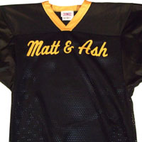 Black jersey with gold lettering